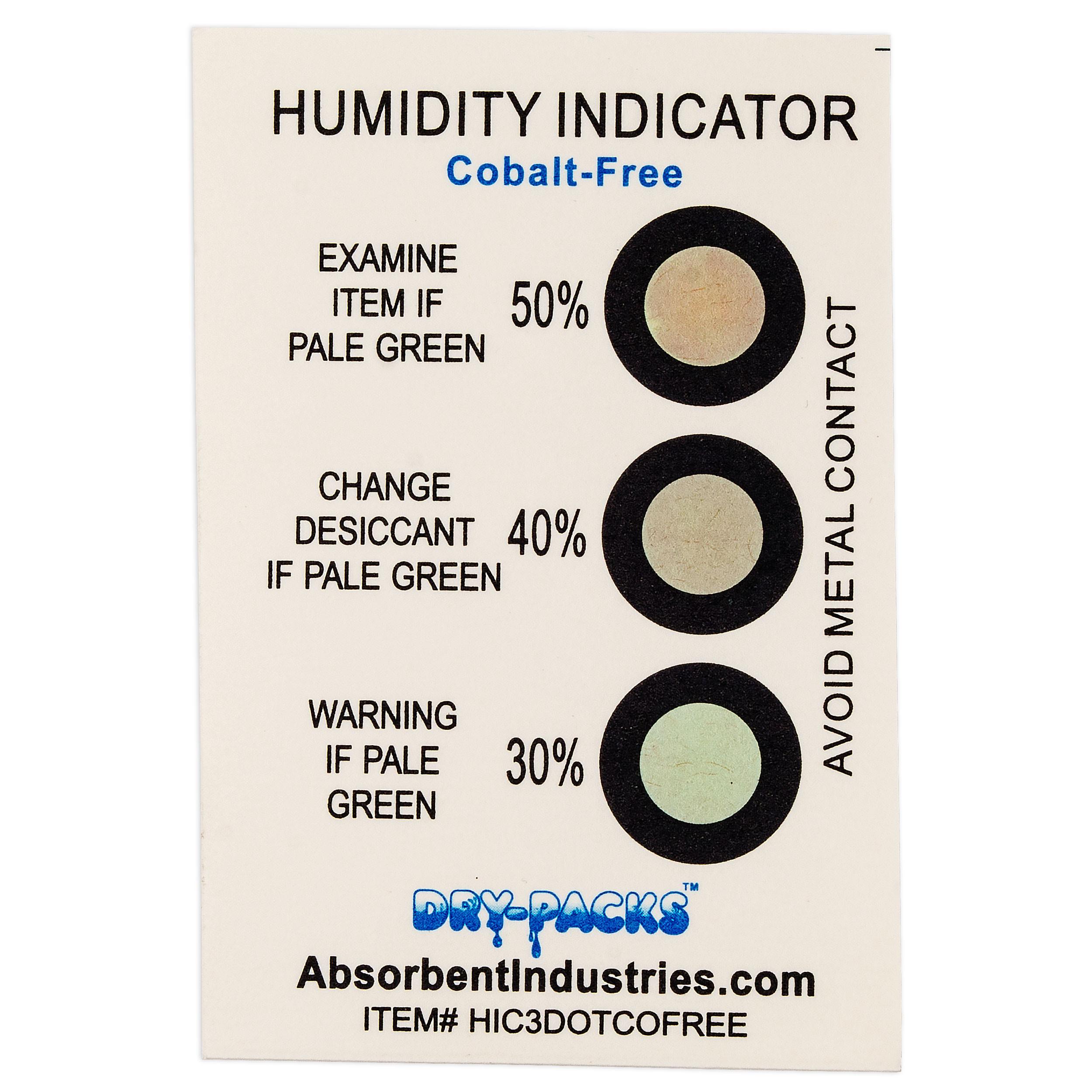 Cobalt Free Humidity Indicator Card - 3 Dot 30%/40%/50%